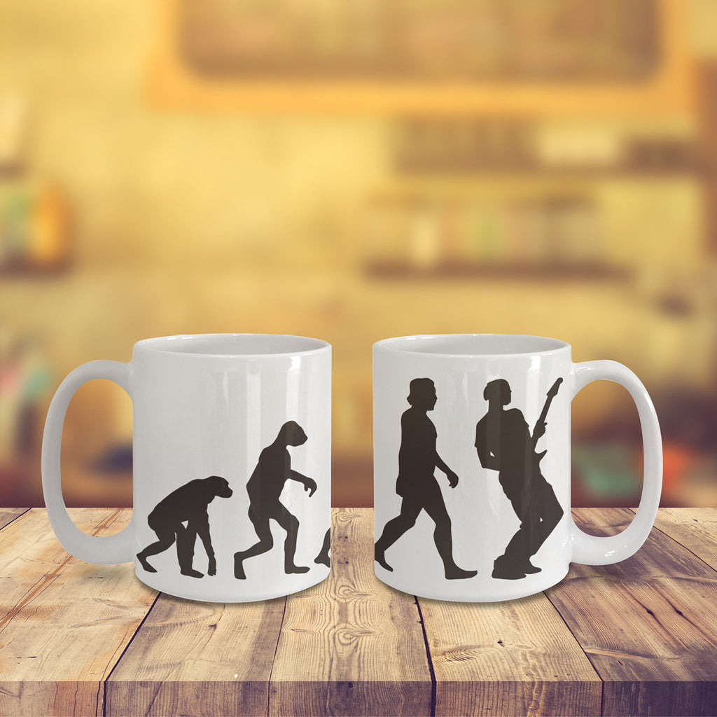 67d4cb2b879 Guitar Evolution Coffee Mug for Cool Musician or Music Cofee Lover Mugs –  Nice Art Design Gift – Awesome Wrap Around Coffe Cup v1