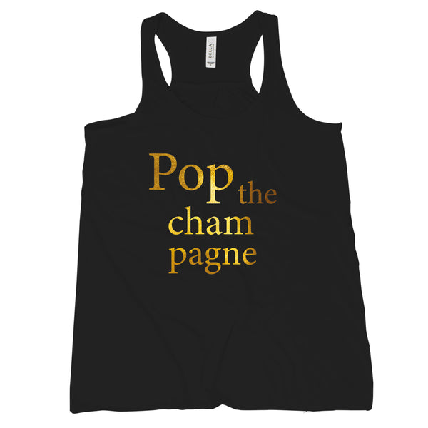Pop the Champagne Tank Cute New Years Eve Tops for Women