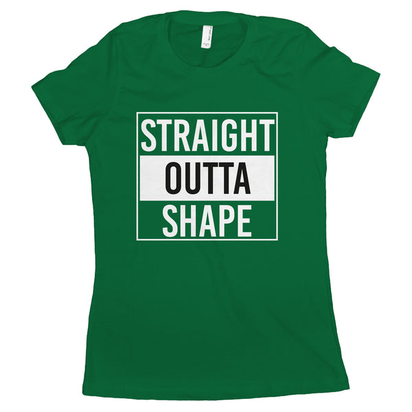 Straight Outta Shape T Shirt Women Funny Workout Shirts for Women
