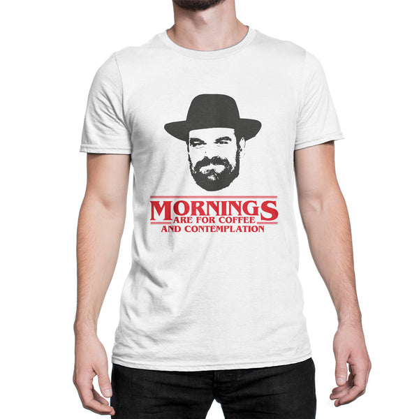 Stranger Things Shirt Mornings For Coffee Contemplation T-Shirt Chief Hopper Quote Tee Stranger Things Gift