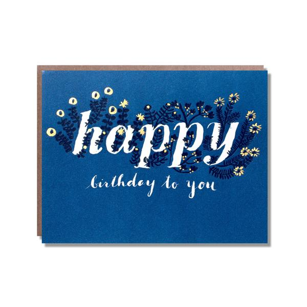 Birthday Card - Foil Wild flower