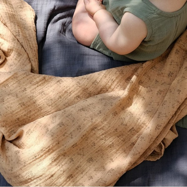 Soft cotton muslin swaddle - Tan