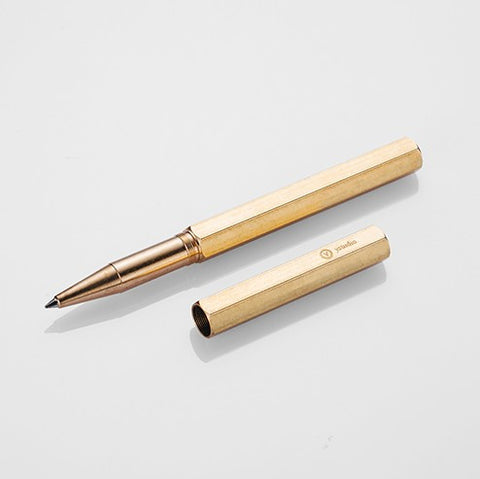 Brass rollerball pen with cap