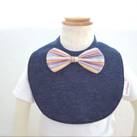 Japan Denim Bib  - Bow in rainbow