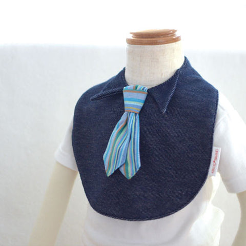 Japan Denim Bib  - Tie in blue