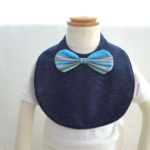 Japan Denim Bib  - Bow in blue