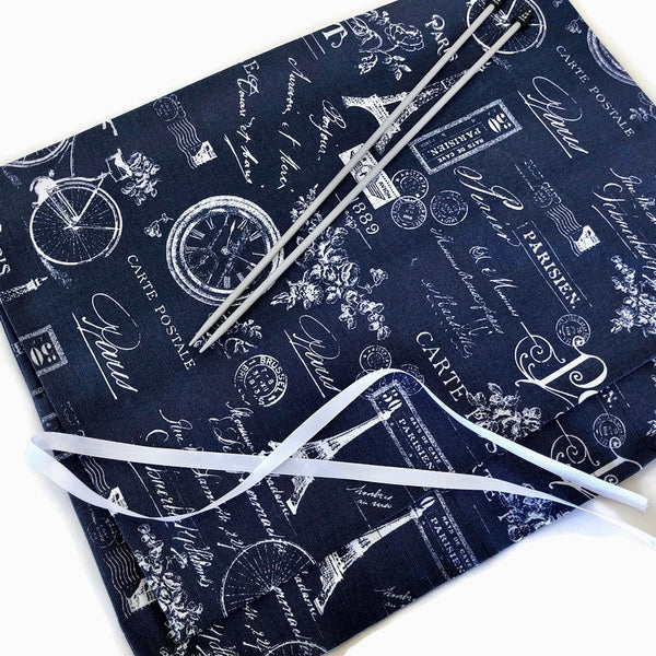 15 Pocket Straight  Needle Roll Up Navy French Icon Fabric