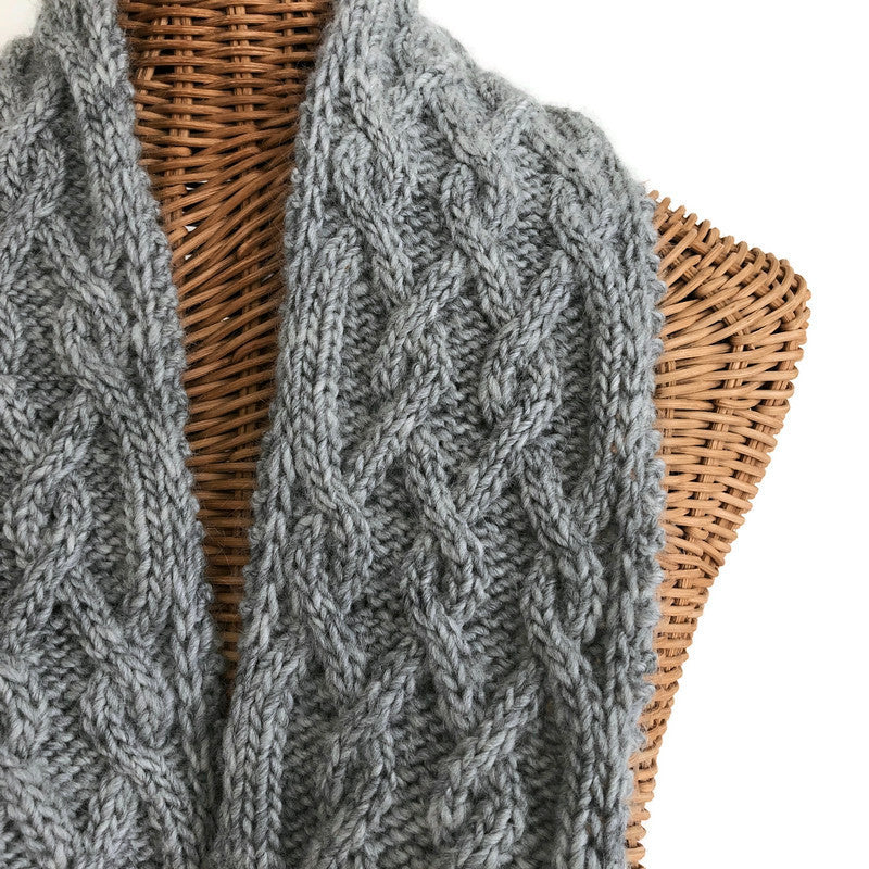 Hand Knit Scarf Gray Cables