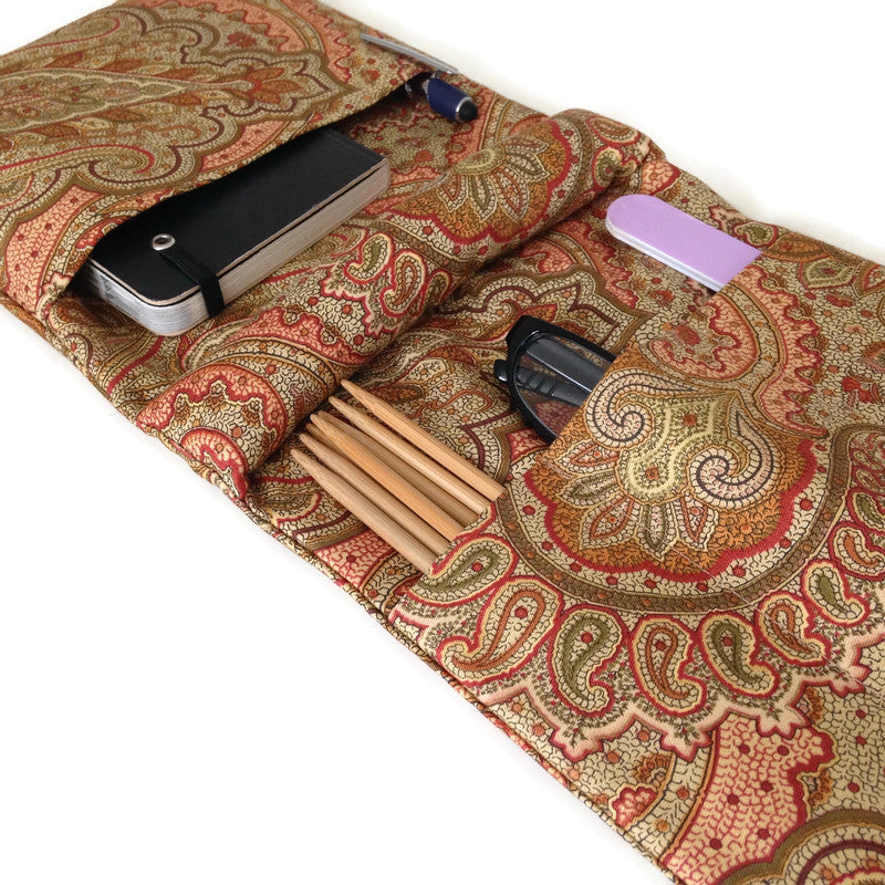 Knitter's Armchair Caddy Brown Paisley