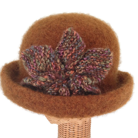 Bowler Style Felted Hat Brown Wool