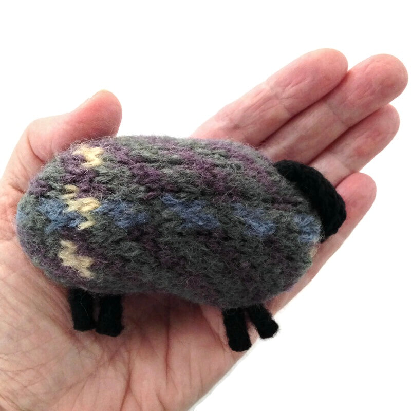 Felted Sheep Hand Warmers Brown Plaid