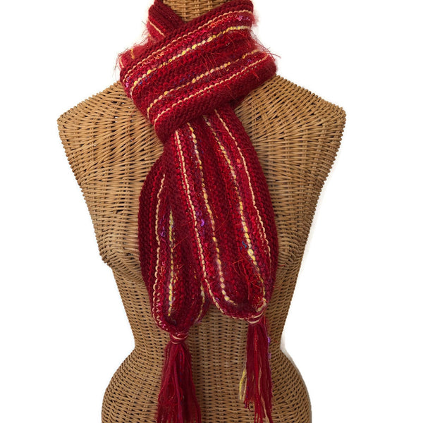 Hand Knit Scarf Red FUSION