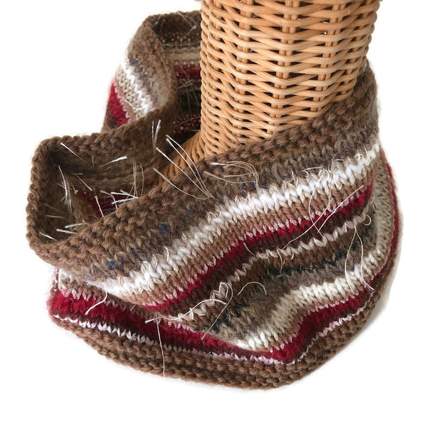 Cowl Brown Red Stripe