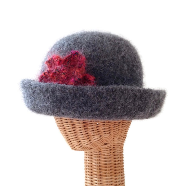 Bowler Style Felted Hat Gray Wool