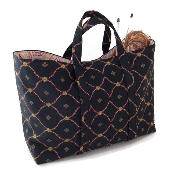 The Large Knitting Bag Black Lattice