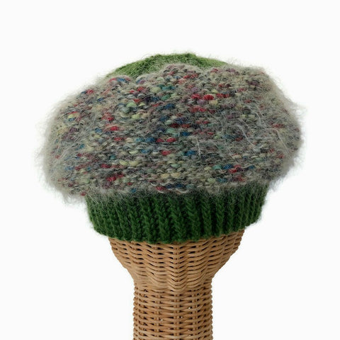 Beret Hat Green Mohair