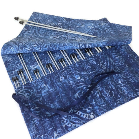 15 Pocket Straight  Needle Roll Up Case Blue on Blue