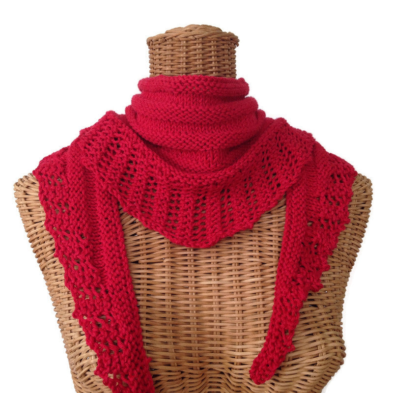 Lacy Knit Scarf Cotton Wool Red