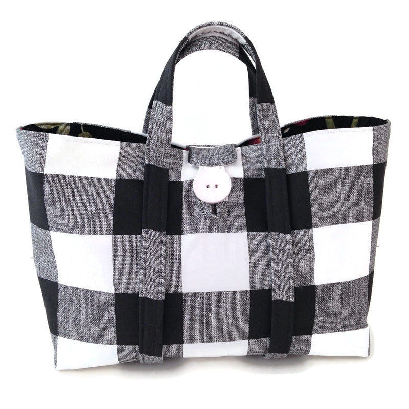 The Large Knitting Bag Black & White Buffalo Plaid