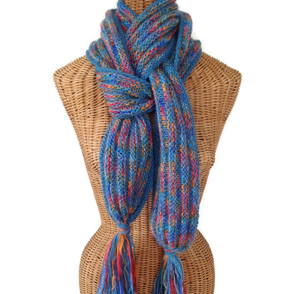 Hand Knit Scarf Blue