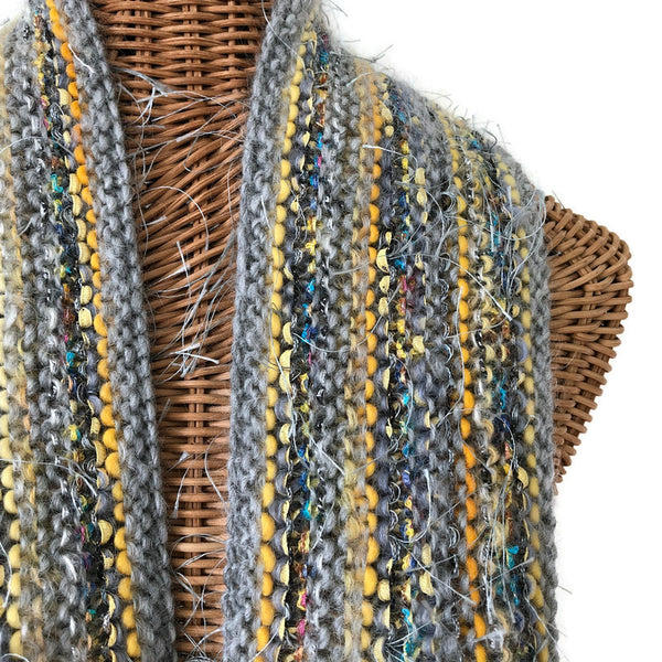 Hand Knit Scarf Gray FUSION
