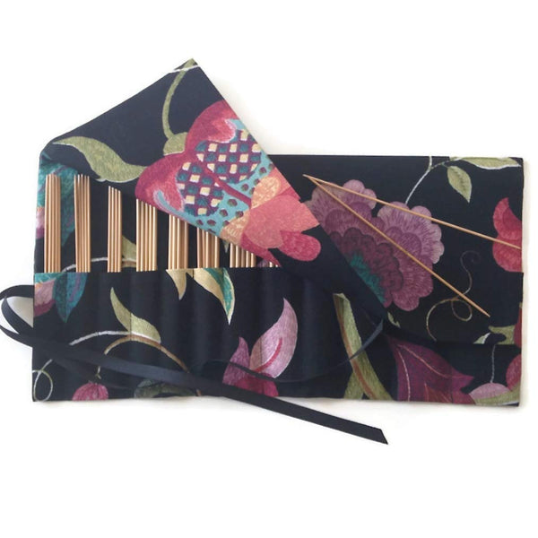 Double Point Needle Six OR Twelve Pocket Roll Up Black Linen Floral