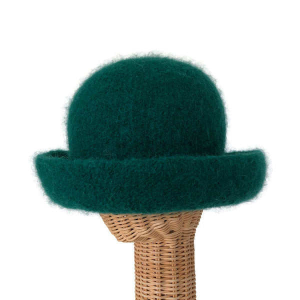 Bowler Style Felted Hat Green Wool
