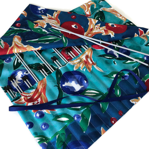 15 Pocket Straight  Needle Roll Up Blue Teal