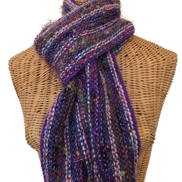 Hand Knit Scarf Purple FUSION