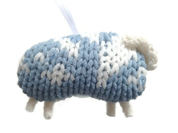 Up Cycled Blue & White Sheep Ornament