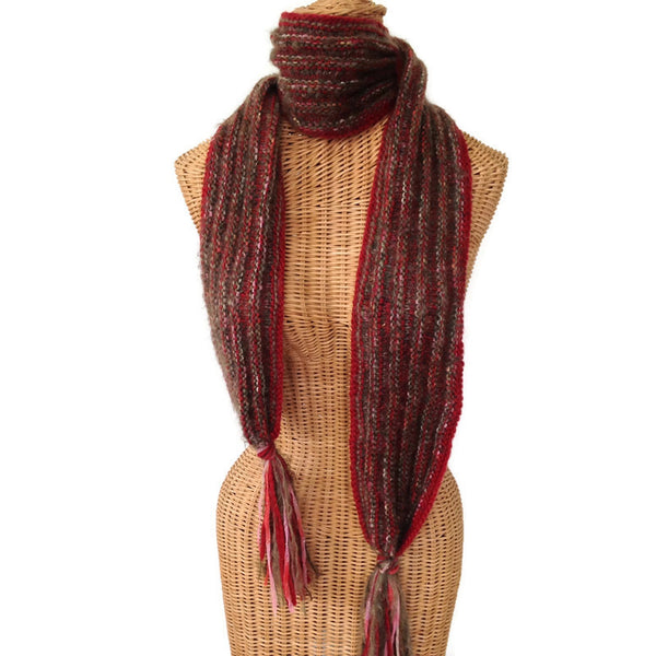Hand Knit Scarf Red