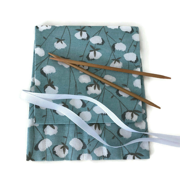 Double Point Needle Six OR Twelve Pocket Roll Up Aqua Cotton Bolls