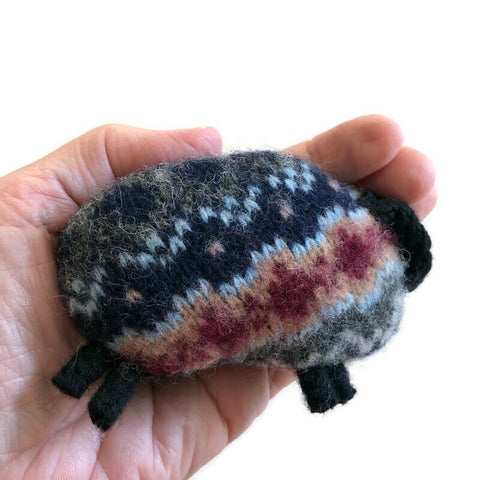 Felted Sheep Hand Warmers Blue Fair Isle