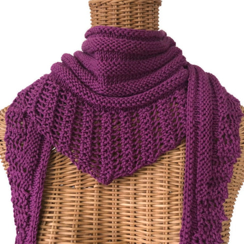 Lacy Knit Scarf Cotton Wool Plum