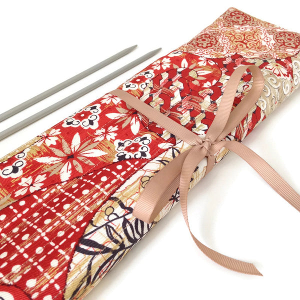 15 Pocket Straight  Needle Roll Up Red Oriental Motif