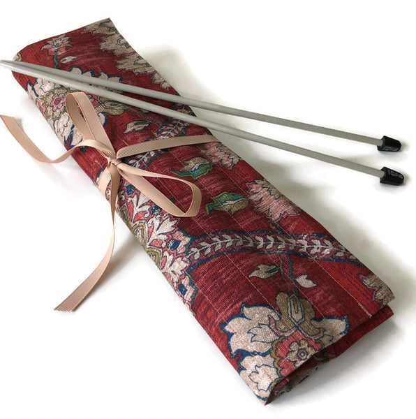 15 Pocket Straight  Needle Roll Up Rust Beige Floral