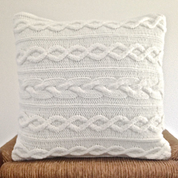 White Sweater Pillow 14 Inch