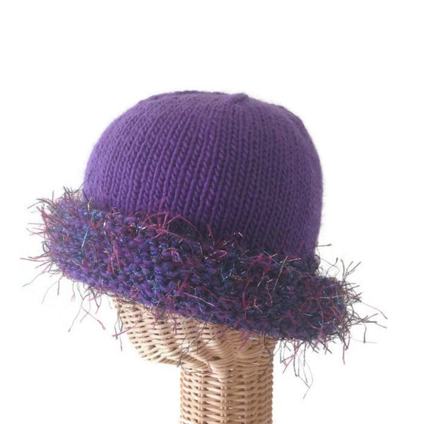 Cloche Fold Back Brim Purple Boutique Wool