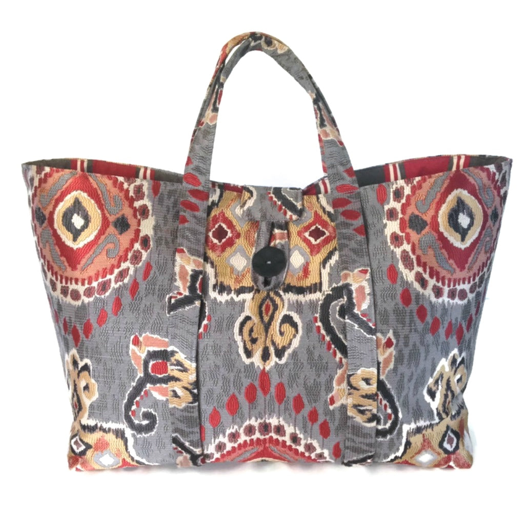 The Large Knitting Bag Red and Gray Ikat
