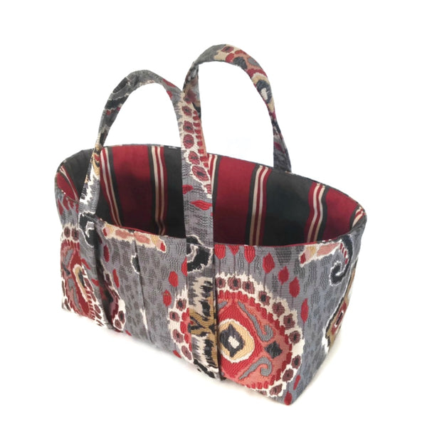The Small Project Bag Red and Gray Ikat