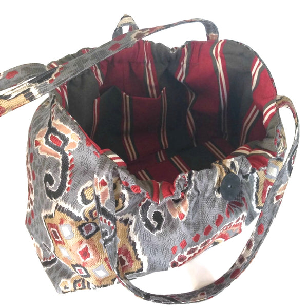 The Shoulder Knitting Bag Red and Gray Ikat