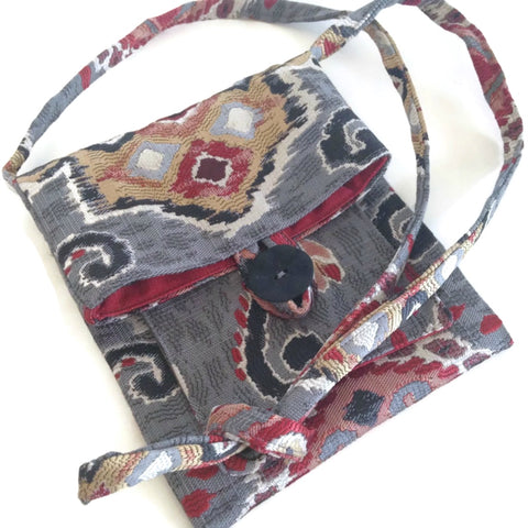 Tag Along Bag Red and Gray Ikat
