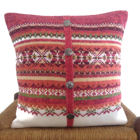 Sweater Pillow Rust Fair Isle