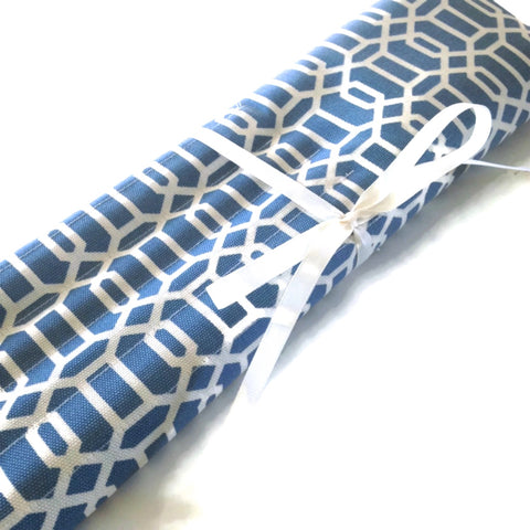 15 Pocket Straight  Needle Roll Up Case Blue Graphic