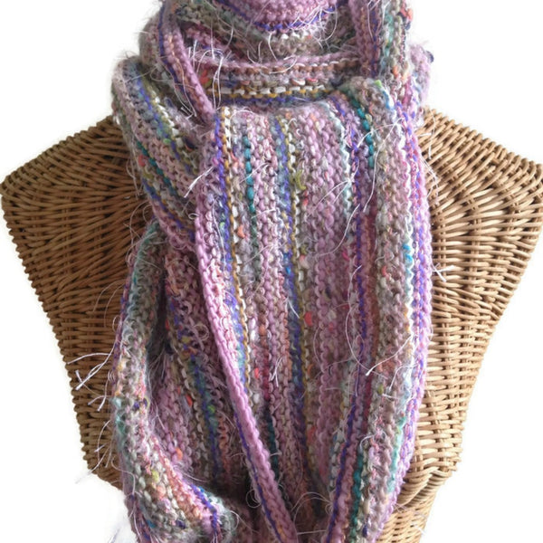 Hand Knit Scarf Pink FUSION