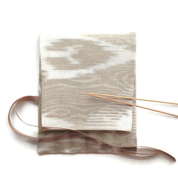 Double Point Needle Roll Up 6 or 12 Pockets Linen Brown Moire