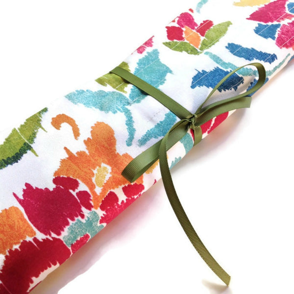 15 Pocket Straight  Needle Roll Up Case Summer Floral