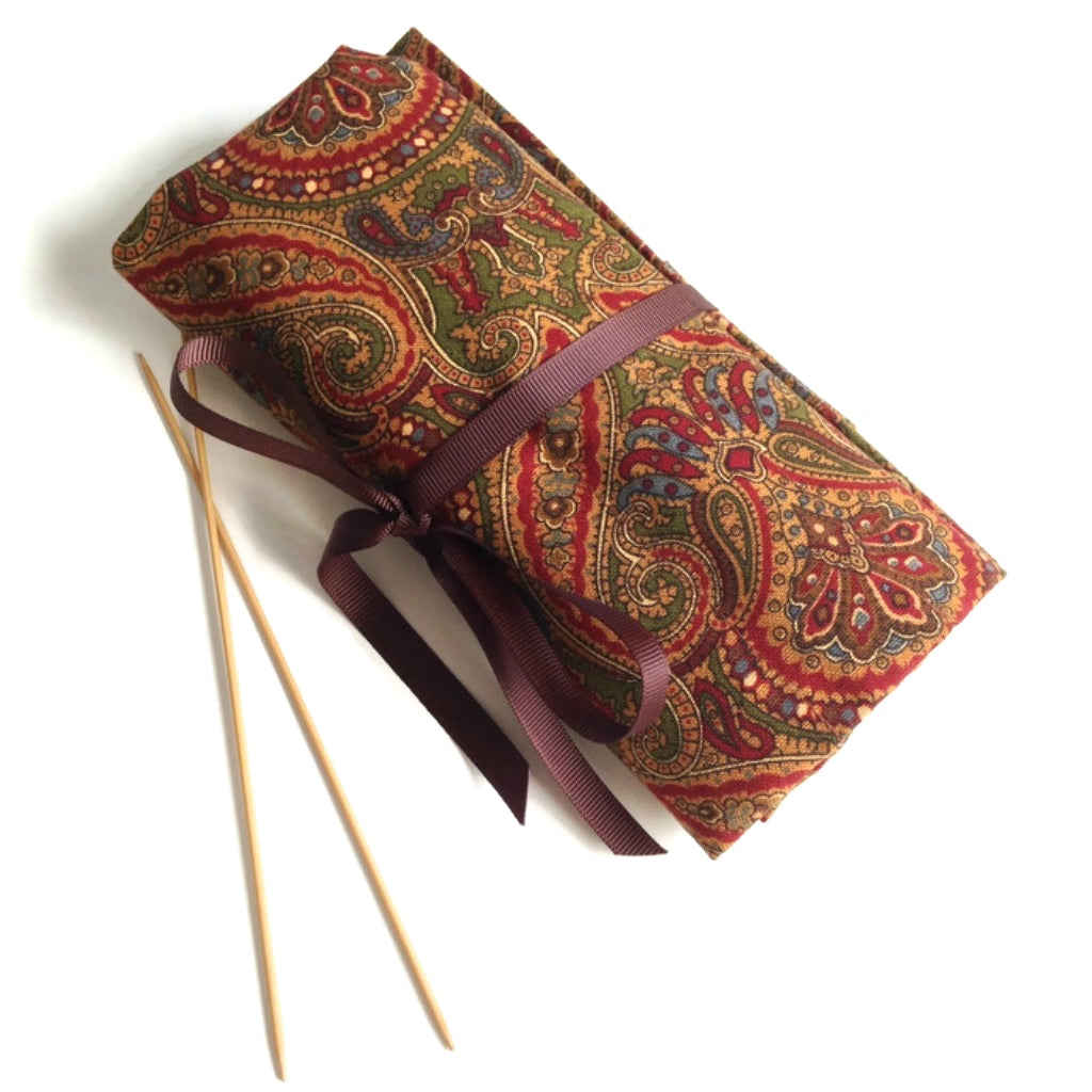 Double Point Needle Roll Up 6 Pockets Brown Paisley
