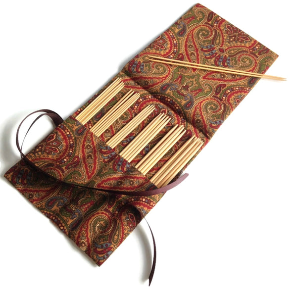 Double Point Needle Roll Up 6 or 12 Pockets Brown Paisley
