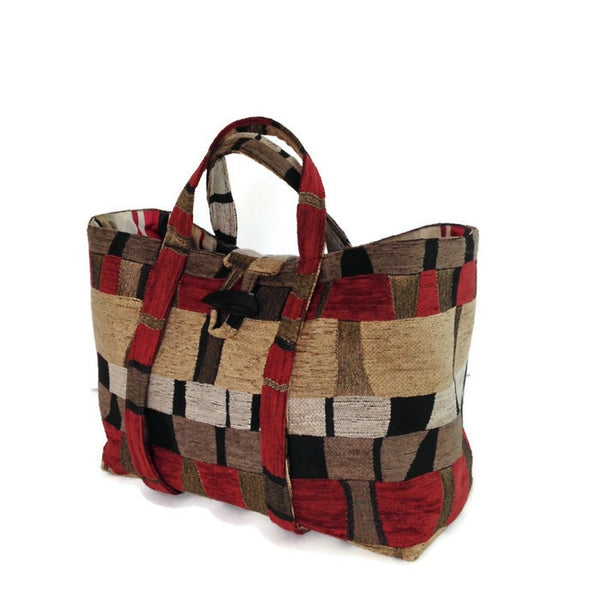 The Large Knitting Bag Red Black Geometrics
